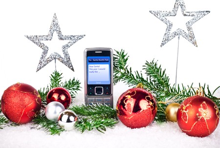 message for Santa  claus on white background photo
