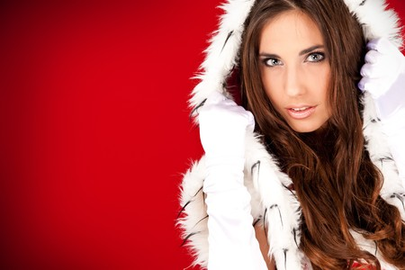 portrait of a beautiful sexy santa woman on red  Stock Photo - 8095776