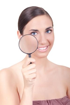 junge Frau Schneefall ihre gesunden Haut - isoliert auf weiss Lizenzfreie Bilder