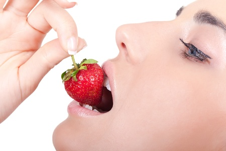 Image of tasty strawberry in female mouth - isolated on white Stock Photo - 8911660