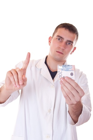 young doctor refuses bribes on white background photo