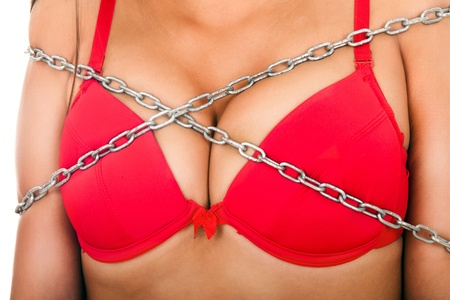 hot breast: hot woman with big breast in chain Stock Photo