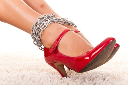 hostage: violated womens legs with  bruise in chains, close up