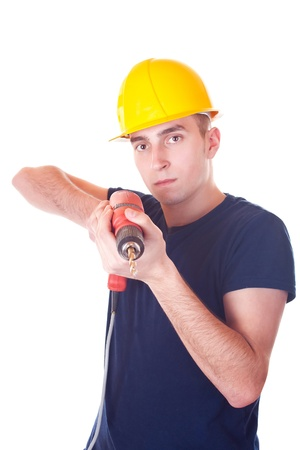 Attractive young men worker with a drill- isolated on white Stock Photo - 9014393