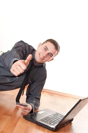 Business success- man celebrating success photo