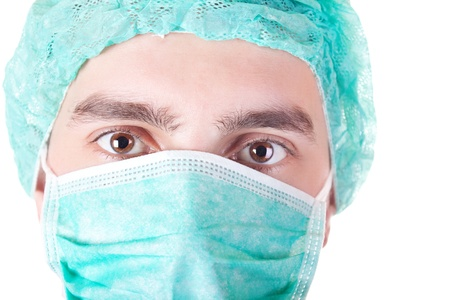 close up, patient with green protective mask- isolated on white Stock Photo - 9077481
