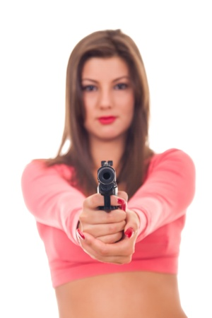 Portrait of young sexy woman with gun- isolated on white Stock Photo - 9128417
