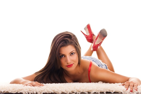 Sexy beautiful female model posing on floor Stock Photo - 9129275