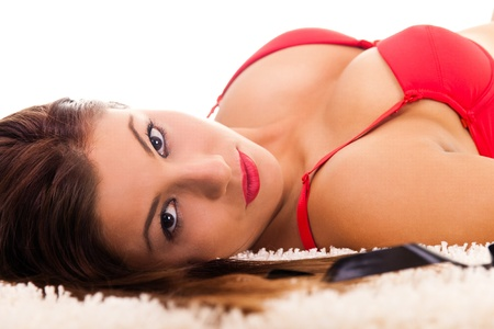 sexy women with big  breast lying on floor, close up Stock Photo - 9129424