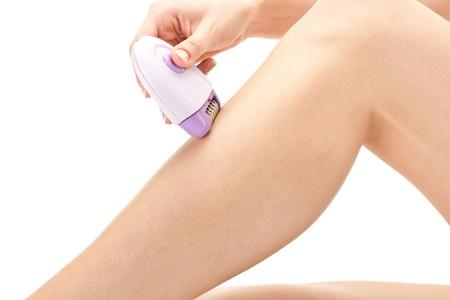 womanliness: Female leg shaving by shaver