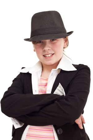 inspector kid: Young teenager girl dressed as a detective, isolated on white
