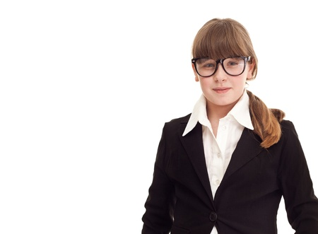 teenager girl dressed as a businesswoman, isolated on white, close up photo