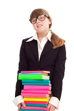 tired, girl with stack color books,  isolated on white Stock Photo - 9228162