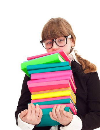 teenager girl carrying heavy stack books, isolated on background Stock Photo - 9228163