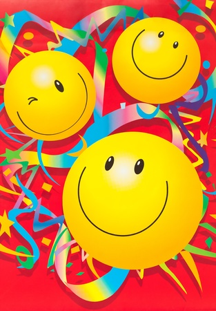 featuring: decoration wallpaper with smiley face Stock Photo
