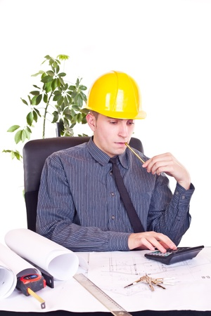 architects man typing on calculator Stock Photo - 9319771