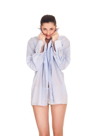 beautiful sexy girl in the morning with a mens shirt, isolated on background photo