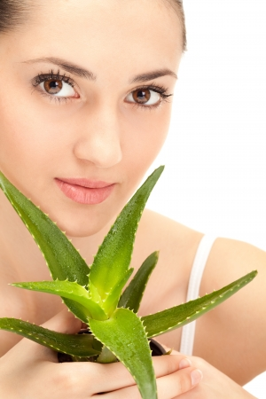 close up, woman's face with aloe, on white background Stock Photo - 9394429