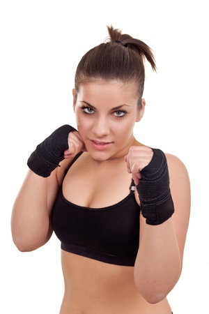 girl punch: Portrait of young beautiful boxer woman- isolated on white Stock Photo