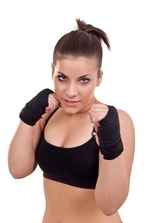 patada: Retrato de joven boxeador hermosa mujer-aislados en blanco Foto de archivo