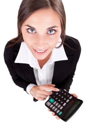 finance director: business woman with calculator, over white background