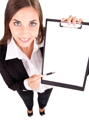 businesswoman showing blank paper,  copy space, isolated on white photo