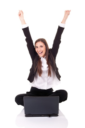 happy businesswomen with lap-top, hands up,  on white background Stock Photo - 9438154