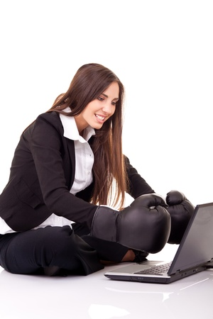 internet security, computer security,  businesswoman with boxing gloves, isolated on white photo