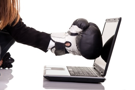 business and internet security concept with businesswoman photo