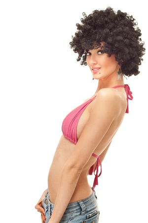 sexy young woman with afro wig in pink bikini top, isolated on white Stock Photo - 9438257