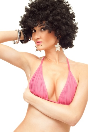 close up, woman in bikini top with afro haircut, isolated on white Stock Photo - 9438481