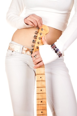 bass guitar women: woman with guitar on a white background