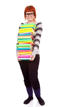 unhappy teenager girl with stack color books, isolated on white background  Stock Photo - 9517124
