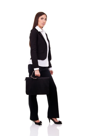businesswoman with safe briefcase, isolated on white photo