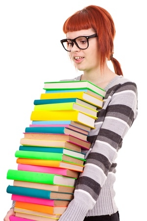 teenager girl with stack color books,  isolated on white Stock Photo - 9569223