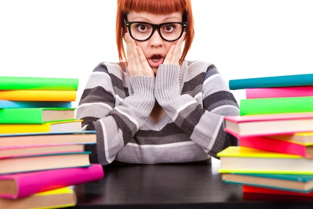 girl in glasses worry because stack  of books, face expression, isolated photo