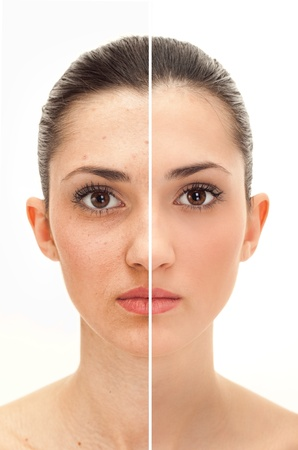 womans face, beauty concept before and after contrast,  power of retouch photo