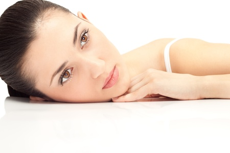 woman spa: close up, beauty womans face, isolated on white background Stock Photo