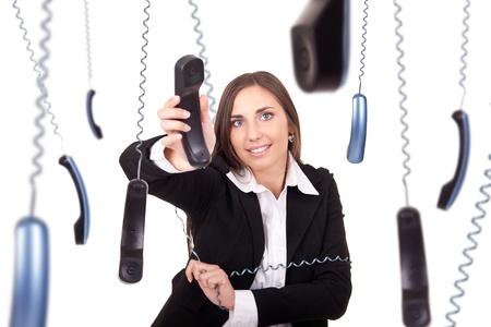 clumsy: occupato e maldestro segretario lavorando con telefono, isolato su sfondo