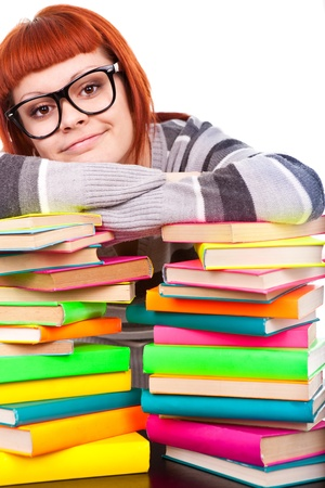 girl with pile color book,  isolated Stock Photo - 9617132