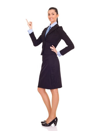 businesswoman presenting or showing your product isolated over white background photo