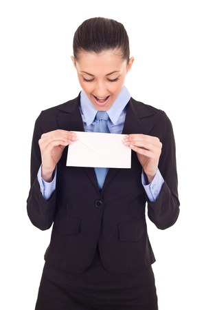 received: surprised businesswoman received letter, isolated on white background