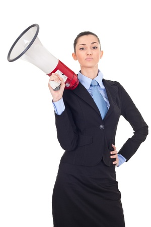 attractive businesswoman holding a megaphone over white background photo