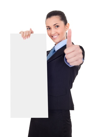 businesswoman holding vertical empty banner and shoving thrums up, isolated on white background  photo