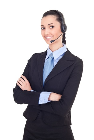 businesswoman as support phone operator in headset, beautiful portrait, isolated on white background photo