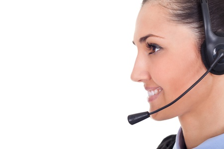 young call center employee wearing headset, close up,  on white background photo