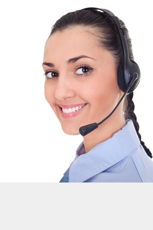 customer service banner, smiling, helpful woman with headset behind white billboard Stock Photo - 9653505