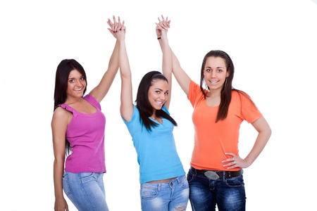 three happy girls isolated on white background Stock Photo - 9769184