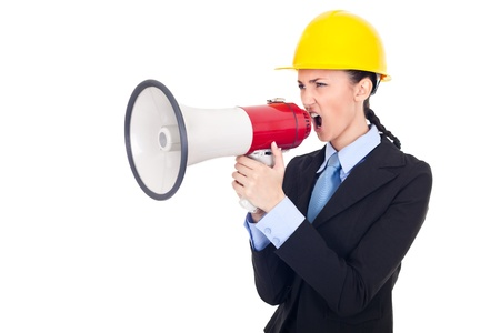 architect giving orders with a megaphone, expressing emotion,  isolated on white background  photo