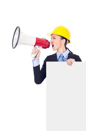 businesswoman holding blank billboard and shouting on megaphone, isolated on white background  photo